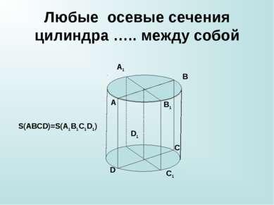 Любые осевые сечения цилиндра ….. между собой A B C D A1 B1 C1 D1 S(ABCD)=S(A...