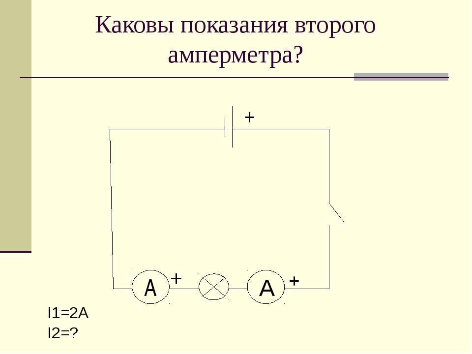 Каковы показания второго амперметра? I1=2А I2=? A + + А +