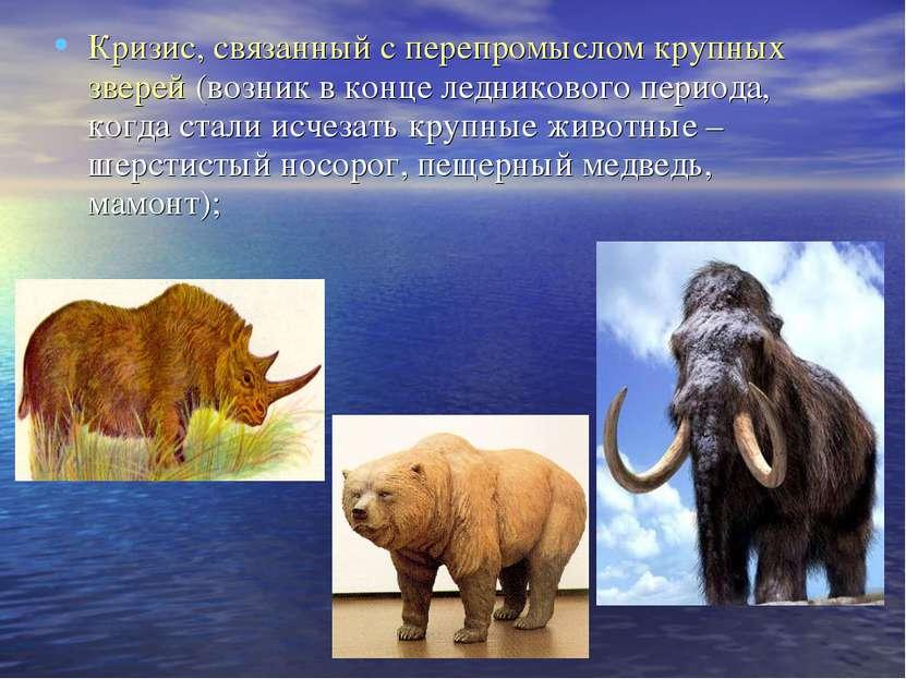Кризис, связанный с перепромыслом крупных зверей (возник в конце ледникового ...