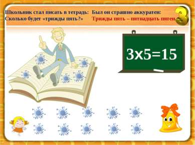 3х5=15 Школьник стал писать в тетрадь: Сколько будет «трижды пять?» Был он ст...