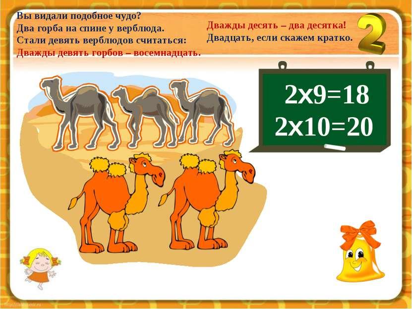 Вы видали подобное чудо? Два горба на спине у верблюда. Стали девять верблюдо...