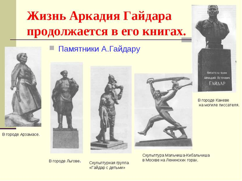 Жизнь Аркадия Гайдара продолжается в его книгах. Памятники А.Гайдару В городе...