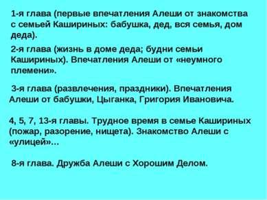1-я глава (первые впечатления Алеши от знакомства с семьей Кашириных: бабушка...