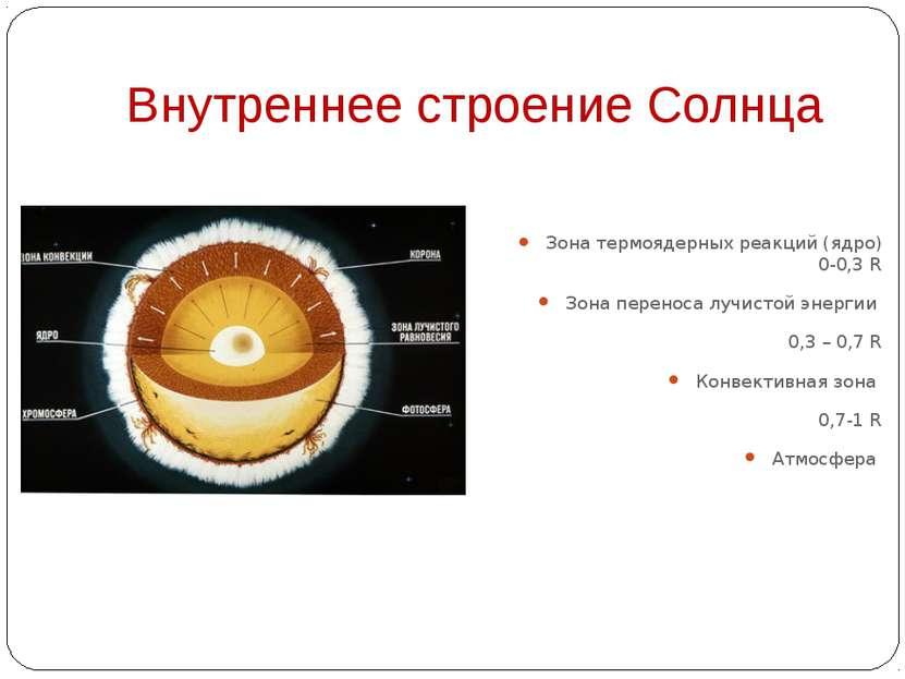 Внутреннее строение Солнца Зона термоядерных реакций (ядро) 0-0,3 R Зона пере...