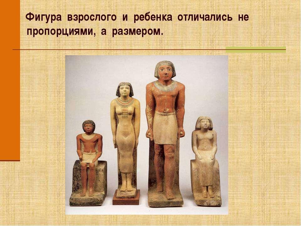 Фигура взрослого и ребенка отличались не пропорциями, а размером.