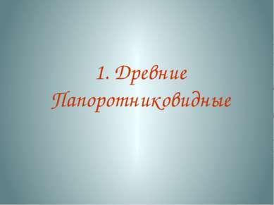 1. Древние Папоротниковидные