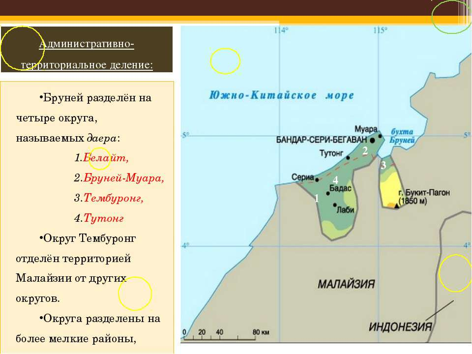 Бруней разделён на четыре округа, называемых даера: Белайт, Бруней-Муара, Тем...