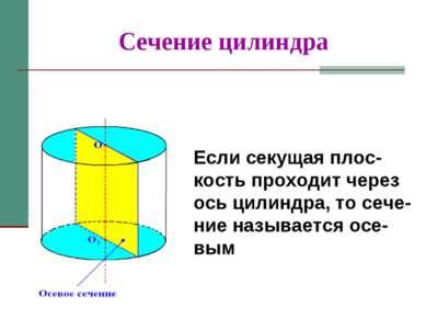 Сечение цилиндра Если секущая плос-кость проходит через ось цилиндра, то сече...