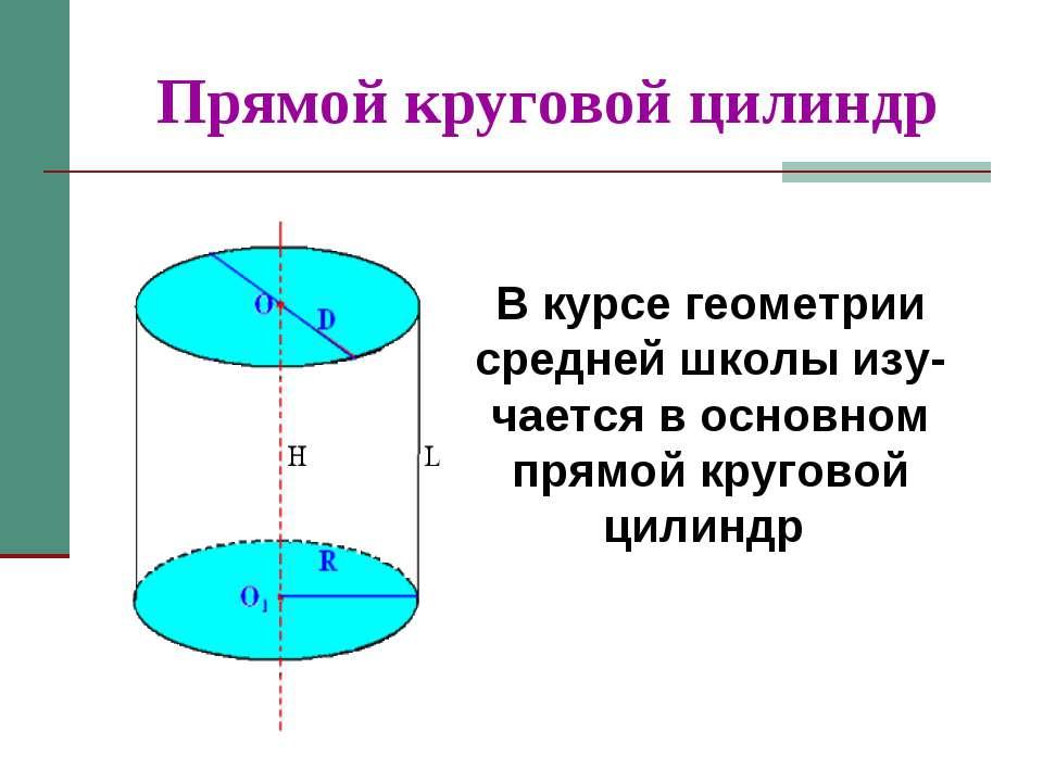 Прямой круговой цилиндр В курсе геометрии средней школы изу-чается в основном...