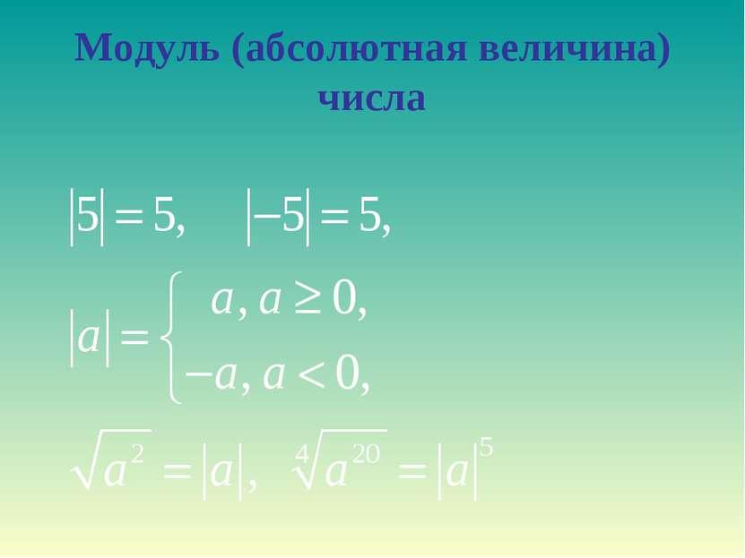 Модуль (абсолютная величина) числа