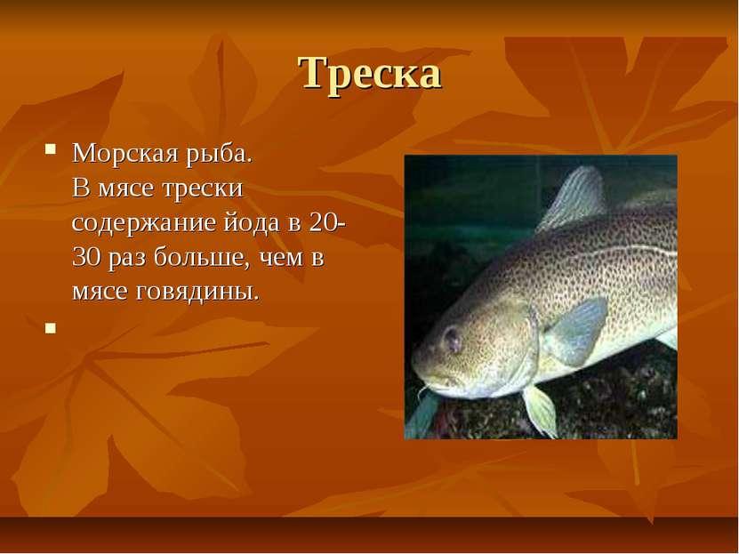 Треска Морская рыба. В мясе трески содержание йода в 20-30 раз больше, чем в ...