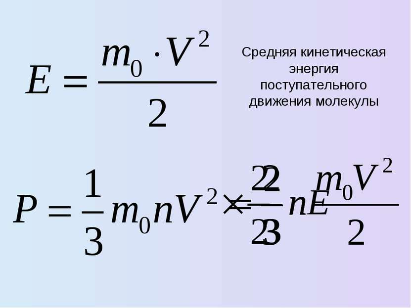 Средняя кинетическая энергия поступательного движения молекулы