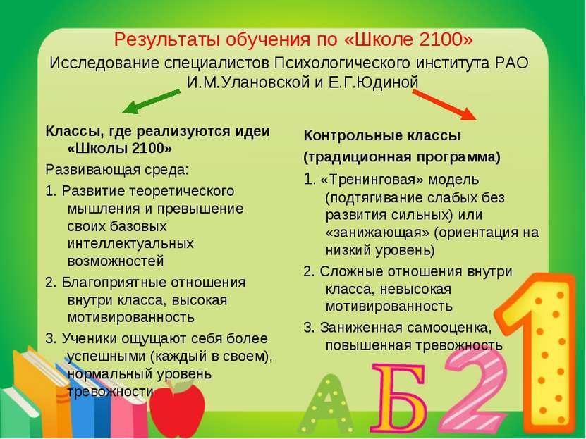 Результаты обучения по «Школе 2100» Исследование специалистов Психологическог...