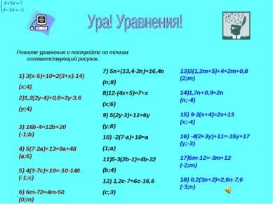 Решите уравнения и постройте по точкам соответствующий рисунок. 1) 3(х-5)+10=...