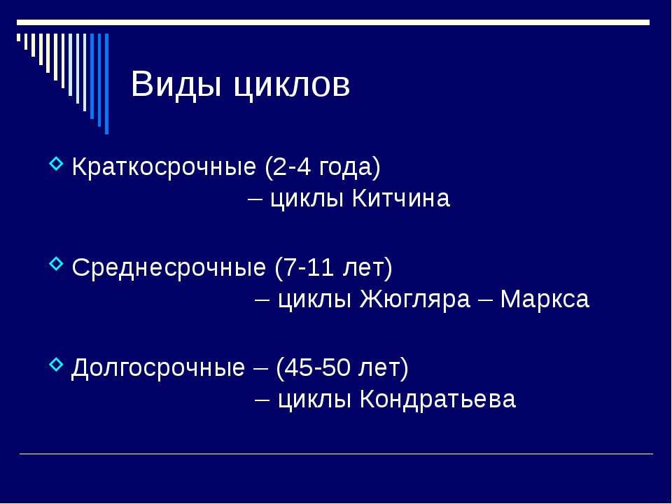 Виды циклов Краткосрочные (2-4 года) – циклы Китчина Среднесрочные (7-11 лет)...