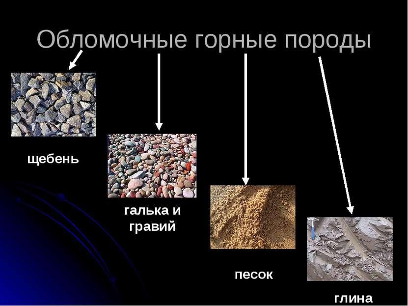 Обломочные горные породы щебень галька и гравий песок глина