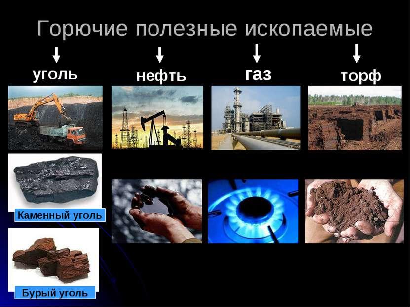 Горючие полезные ископаемые уголь нефть газ торф Каменный уголь Бурый уголь