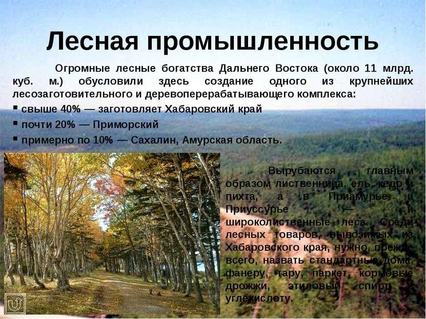 Лесная промышленность Огромные лесные богатства Дальнего Востока (около 11 мл...