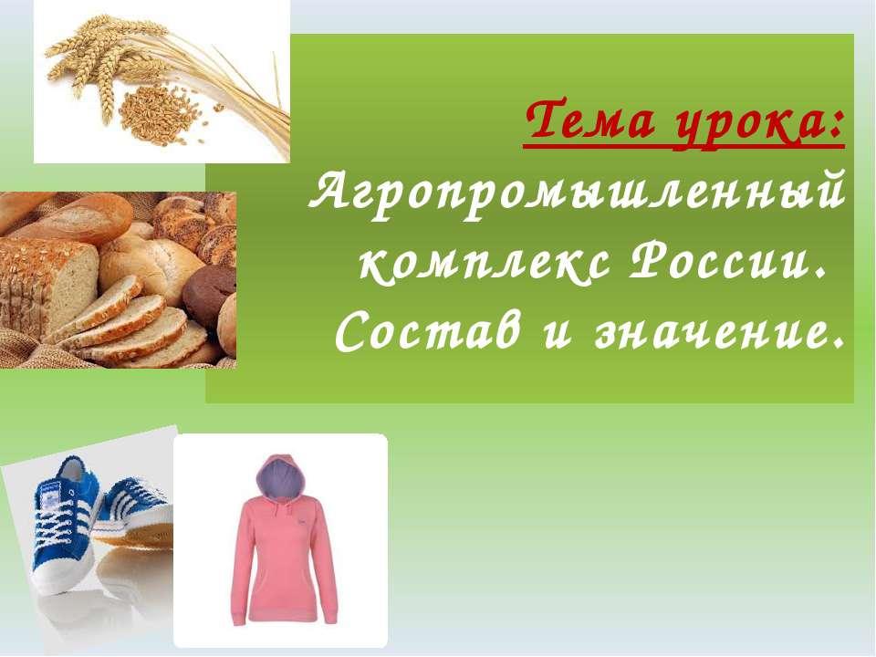 Тема урока: Агропромышленный комплекс России. Состав и значение.