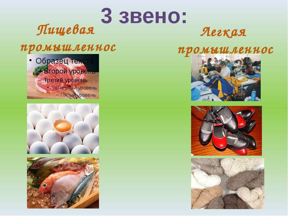 3 звено: Пищевая промышленность Легкая промышленность