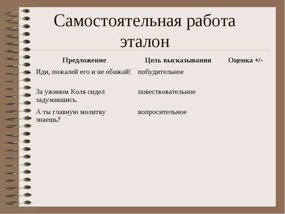 Самостоятельная работа эталон Предложение Цель высказывания Оценка +/- Иди, п...