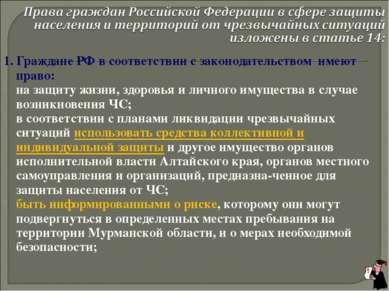 1. Граждане РФ в соответствии с законодательством имеют право: на защиту жизн...