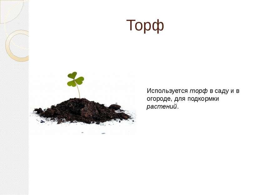 Торф Используется торф в саду и в огороде, для подкормки растений.