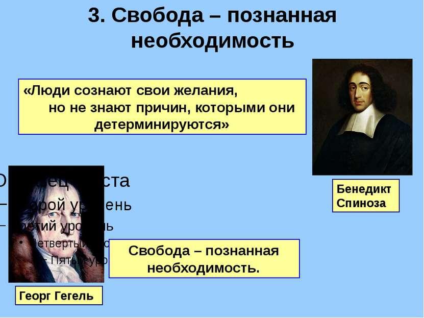 3. Cвобода – познанная необходимость Георг Гегель Бенедикт Спиноза «Люди созн...