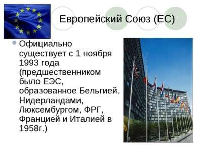 Европейский Союз (ЕС) Официально существует с 1 ноября 1993 года (предшествен...