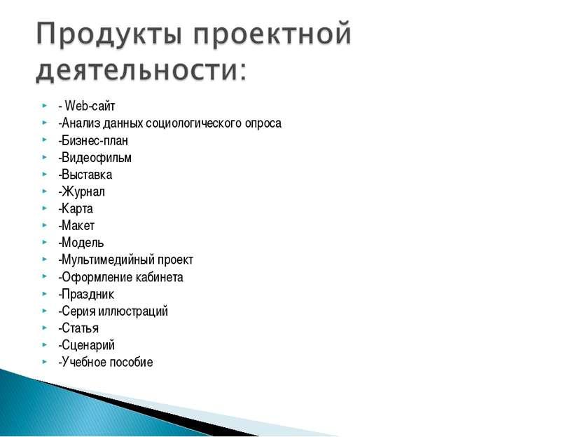 - Web-сайт -Анализ данных социологического опроса -Бизнес-план -Видеофильм -В...