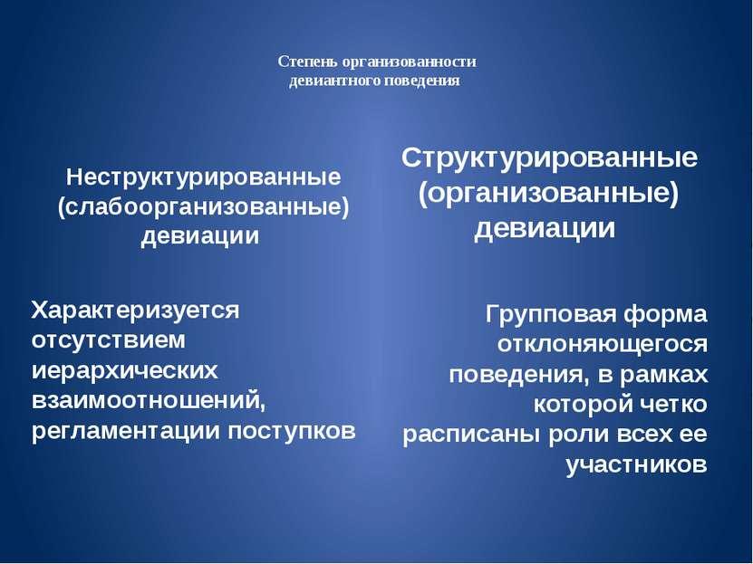 Степень организованности девиантного поведения Неструктурированные (слабоорга...