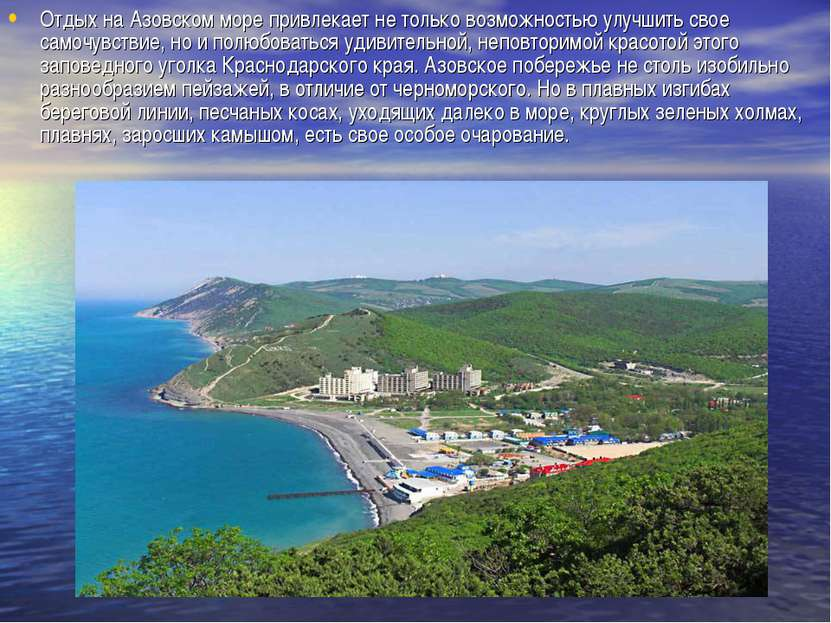 Отдых на Азовском море привлекает не только возможностью улучшить свое самочу...
