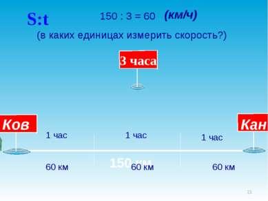 * 150 км 150 : 3 = 60 (в каких единицах измерить скорость?) 1 час 1 час 1 час...