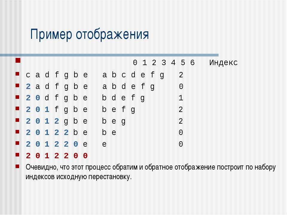 Пример отображения 0 1 2 3 4 5 6 Индекс c a d f g b e a b c d e f g 2 2 a d f...