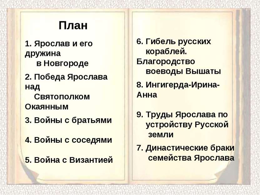 1. Ярослав и его дружина в Новгороде 2. Победа Ярослава над Святополком Окаян...