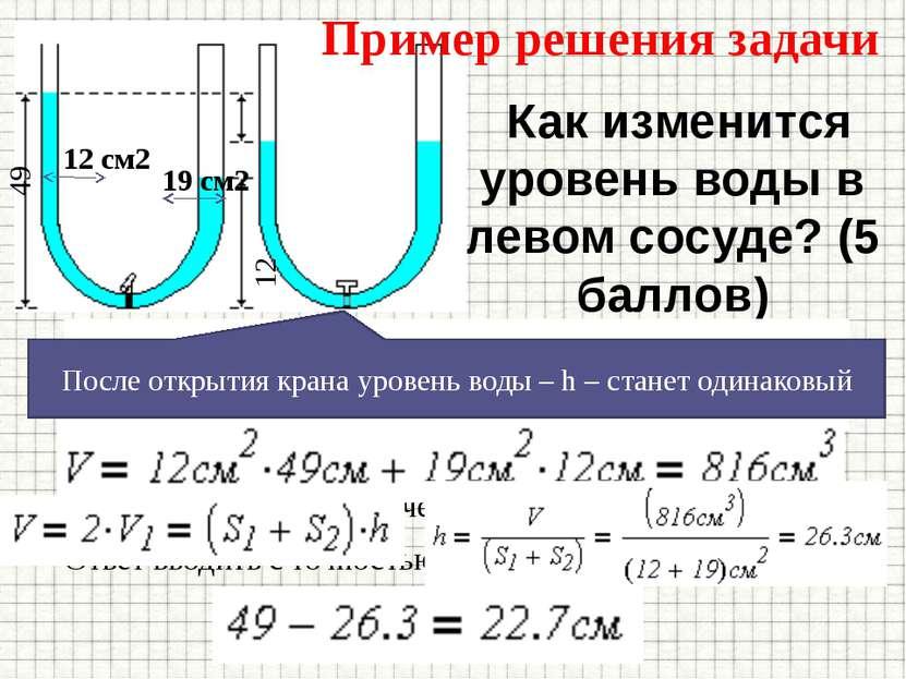 Как изменится уровень воды в левом сосуде? (5 баллов) Высота воды в левом кол...