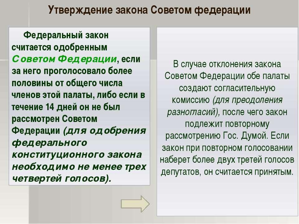 Федеральный закон считается одобренным Советом Федерации, если за него прогол...