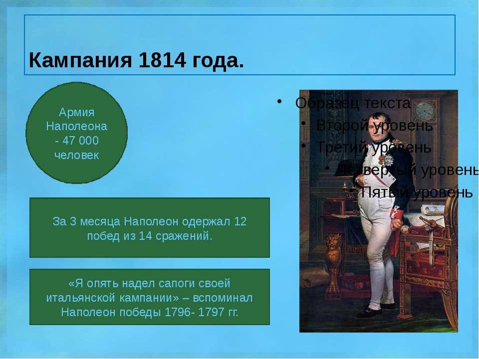 Кампания 1814 года. За 3 месяца Наполеон одержал 12 побед из 14 сражений. Арм...