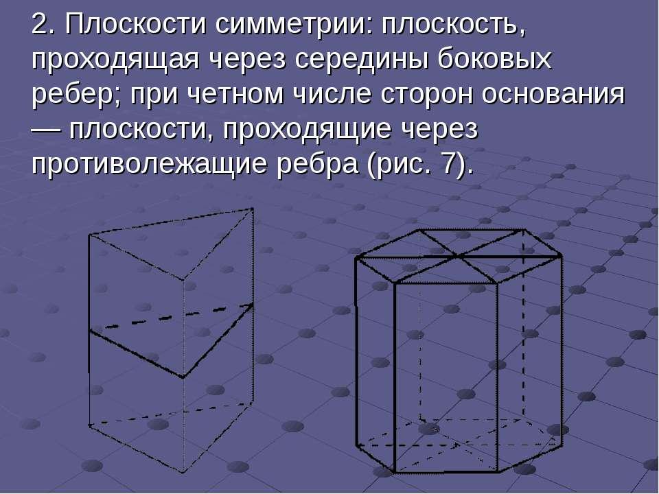 2.Плоскости симметрии: плоскость, проходящая через середины боковых ребер; ...