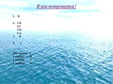 Взаимопроверка! 1. В 2 . 1-Б 2-Г 3-В 4-А Б А Нет ошибок -5 1 ошибка -4 2 ошиб...