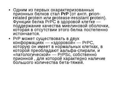 Одним из первых охарактеризованных прионных белков стал PrP (от англ. prion-r...