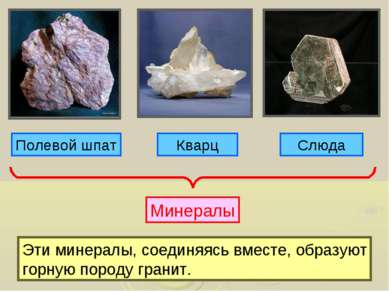 Полевой шпат Кварц Слюда Минералы Эти минералы, соединяясь вместе, образуют г...