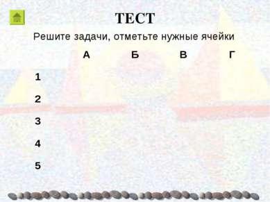 ТЕСТ Решите задачи, отметьте нужные ячейки А Б В Г 1 2 3 4 5