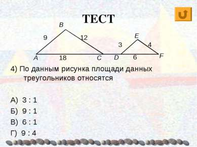 ТЕСТ 4) По данным рисунка площади данных треугольников относятся А) 3 : 1 Б) ...