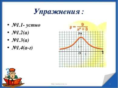 Упражнения : №1.1- устно №1.2(а) №1.3(а) №1.4(а-г) * http://aida.ucoz.ru * ht...