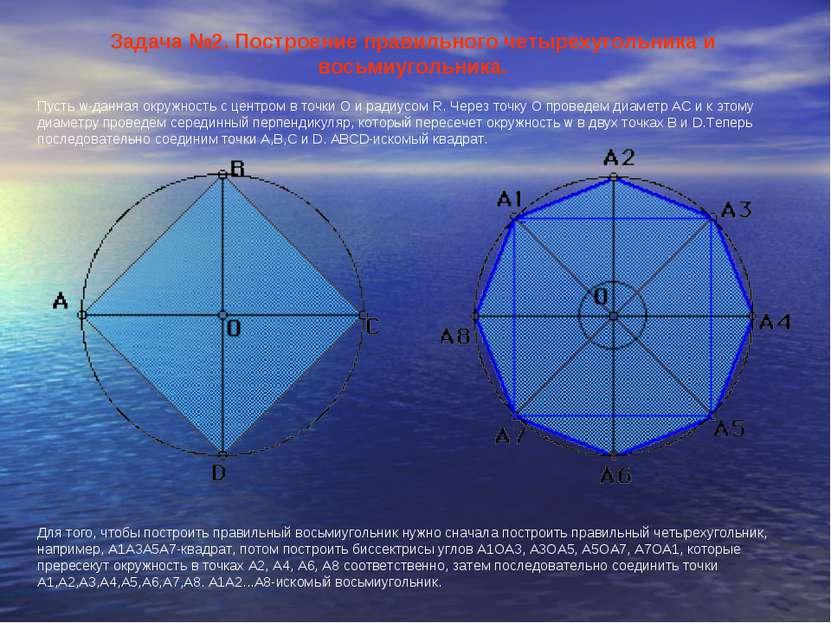 Задача №2. Построение правильного четырехугольника и восьмиугольника. Пусть w...