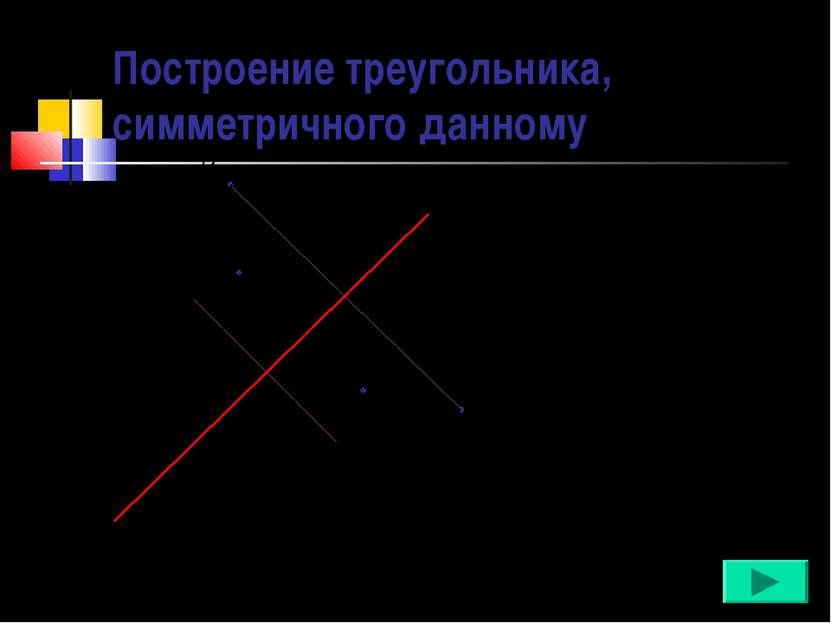 Построение треугольника, симметричного данному А с А' В В' С С' 1. AA' c AO=O...