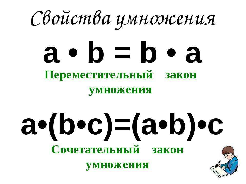 а • b = b • а a•(b•c)=(a•b)•c Свойства умножения Переместительный закон умнож...