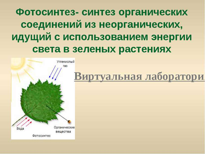 Фотосинтез- синтез органических соединений из неорганических, идущий с исполь...