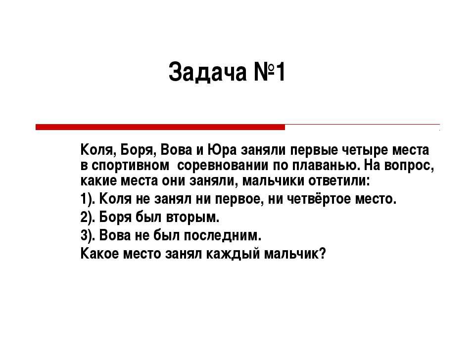 Задача №1 Коля, Боря, Вова и Юра заняли первые четыре места в спортивном соре...